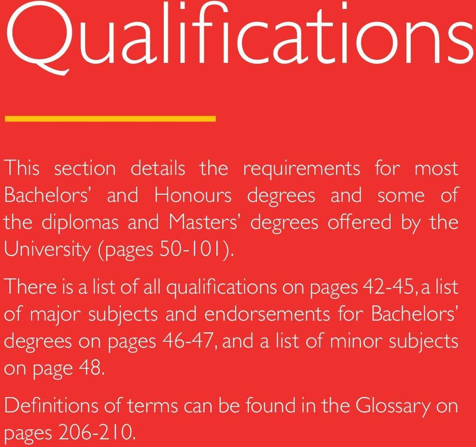 There is a list of all qualifications on pages 42-45, a list of major subjects and endorsements for