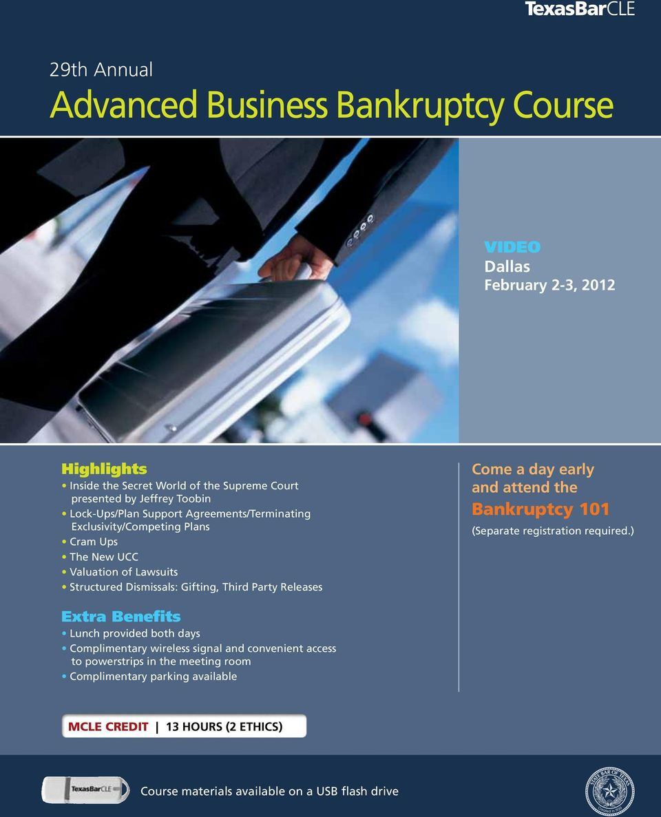 Party Releases Come a day early and attend the Bankruptcy 101 (Separate registration required.
