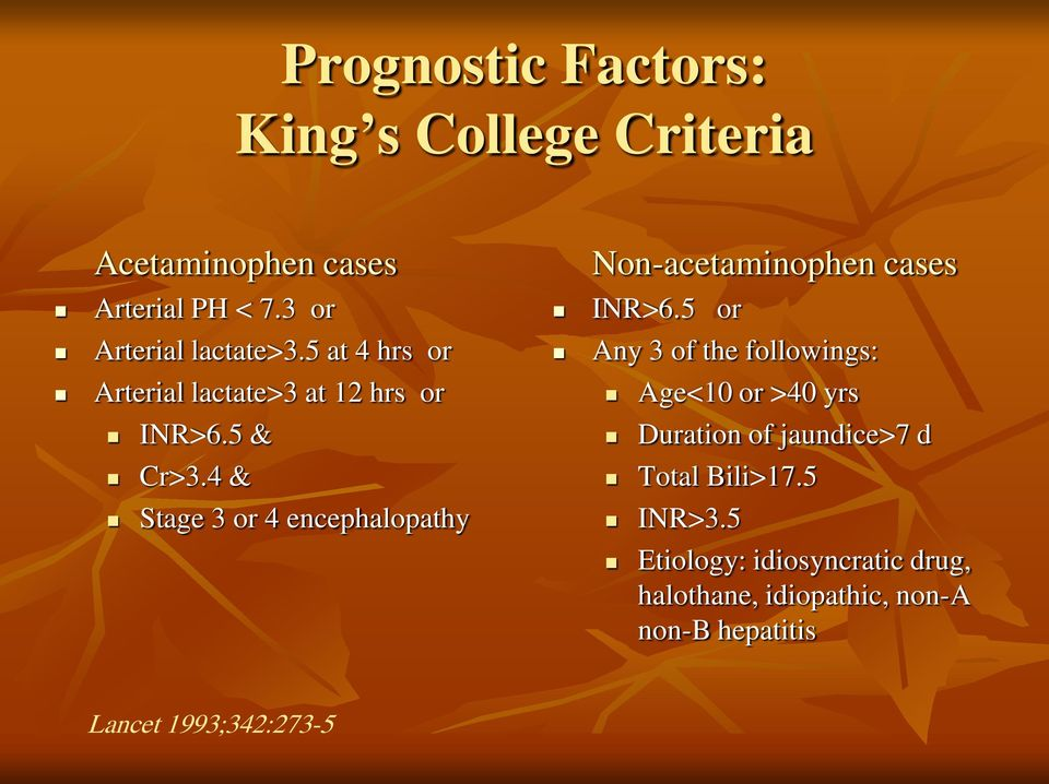 4 & Stage 3 or 4 encephalopathy Non-acetaminophen cases INR>6.