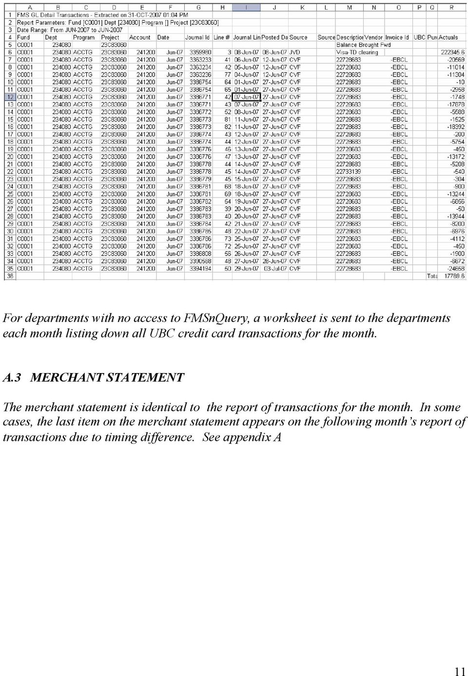 3 MERCHANT STATEMENT The merchant statement is identical to the report of transactions for the month.