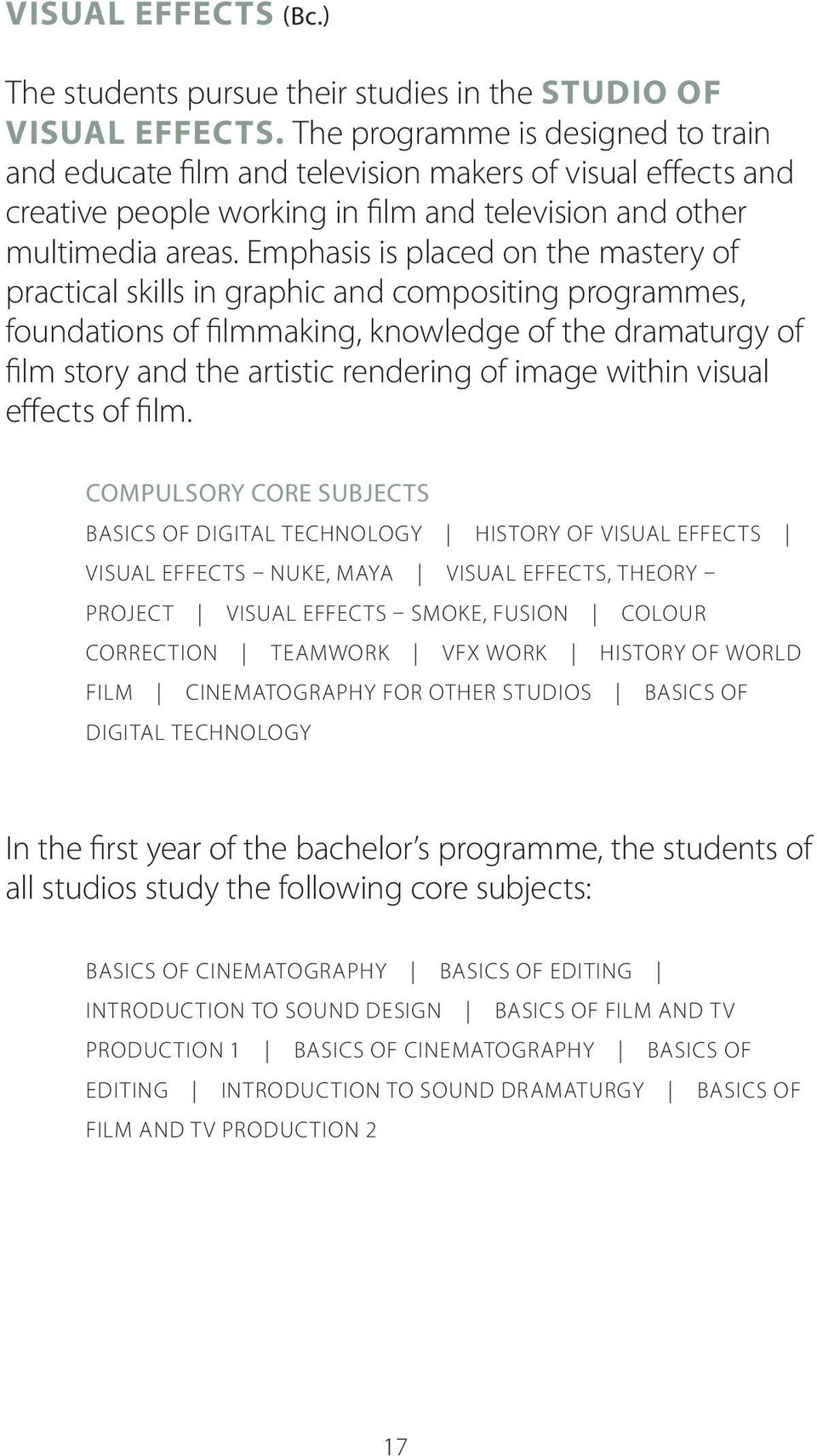 Emphasis is placed on the mastery of practical skills in graphic and compositing programmes, foundations of filmmaking, knowledge of the dramaturgy of film story and the artistic rendering of image