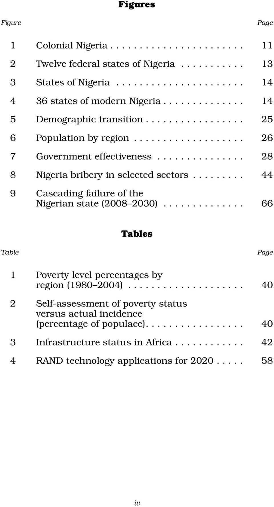 ........ 44 9 Cascading failure of the Nigerian state (2008 2030).............. 66 Tables Table Page 1 Poverty level percentages by region (1980 2004).