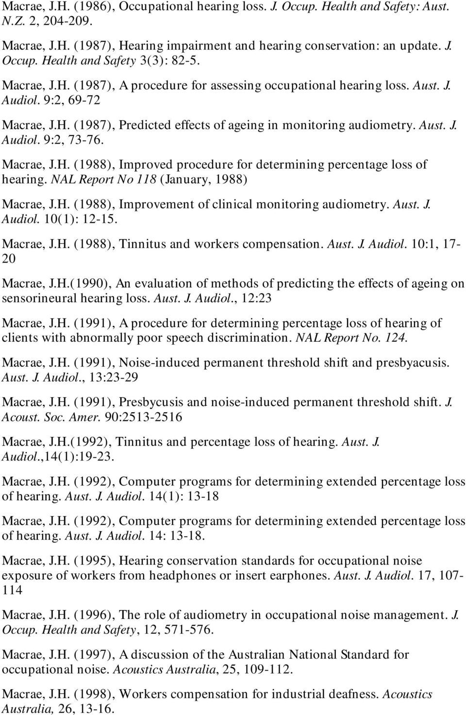 Macrae, J.H. (1988), Improved procedure for determining percentage loss of hearing. NAL Report No 118 (January, 1988) Macrae, J.H. (1988), Improvement of clinical monitoring audiometry. Aust. J. Audiol.