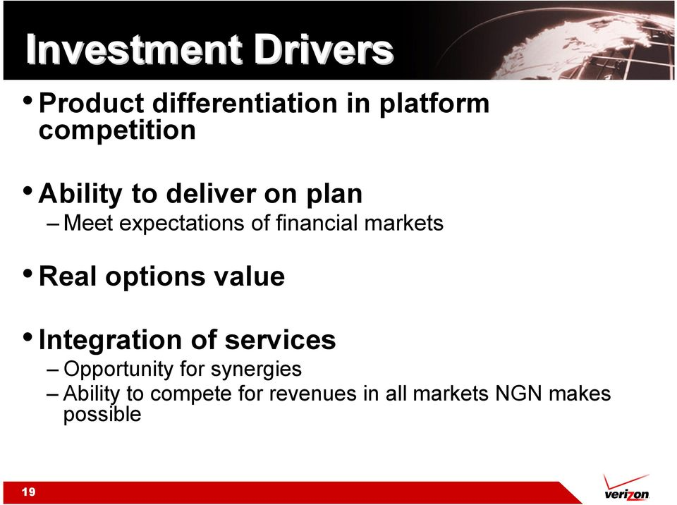 Real options value Integration of services Opportunity for