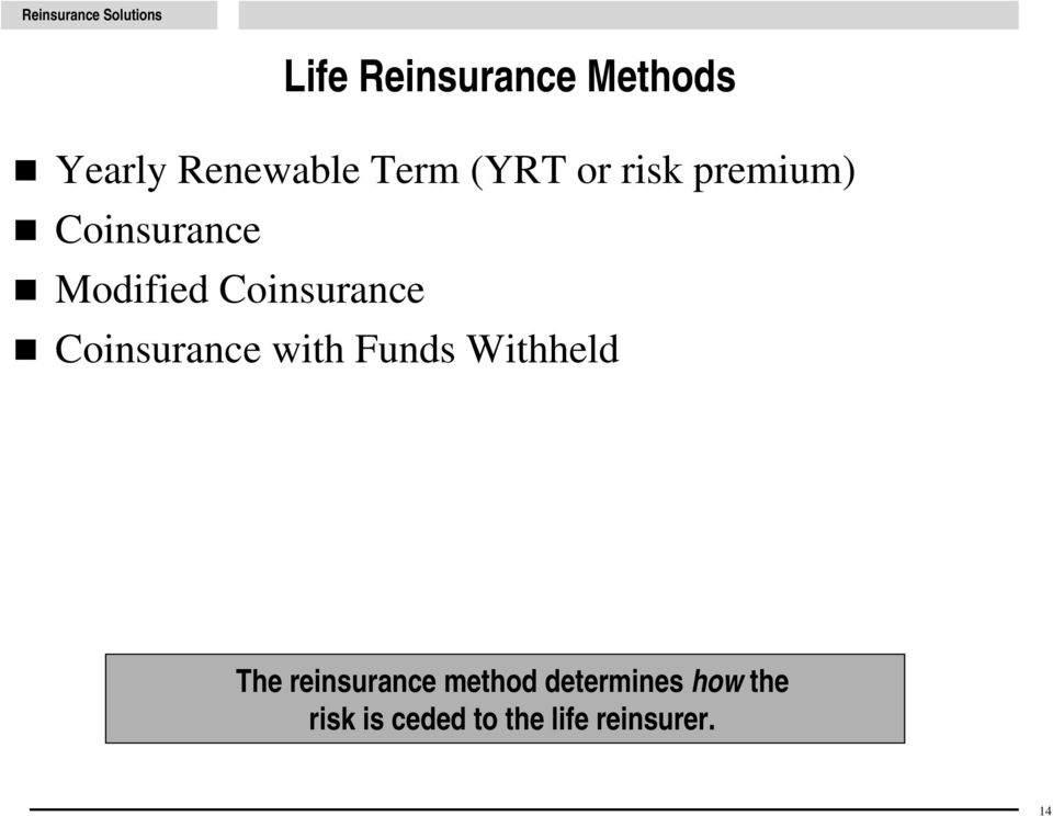 Coinsurance with Funds Withheld The reinsurance