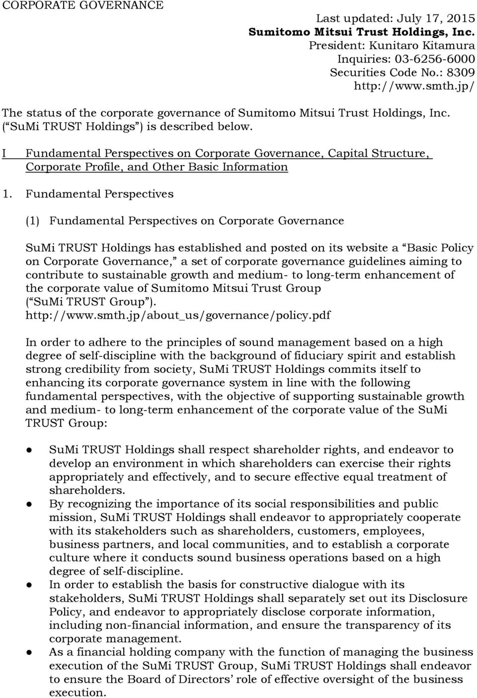 I Fundamental Perspectives on Corporate Governance, Capital Structure, Corporate Profile, and Other Basic Information 1.