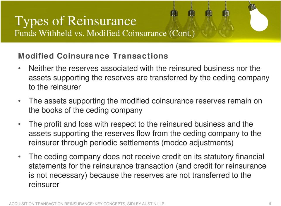 The assets supporting the modified coinsurance reserves remain on the books of the ceding company The profit and loss with respect to the reinsured business and the assets supporting the