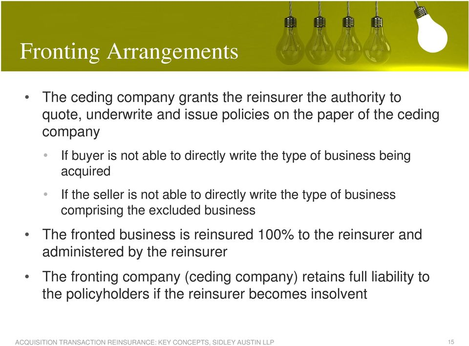 write the type of business comprising the excluded business The fronted business is reinsured 100% to the reinsurer and administered
