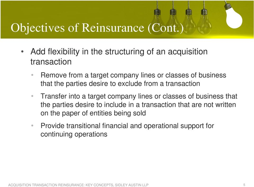 business that the parties desire to exclude from a transaction Transfer into a target company lines or classes of