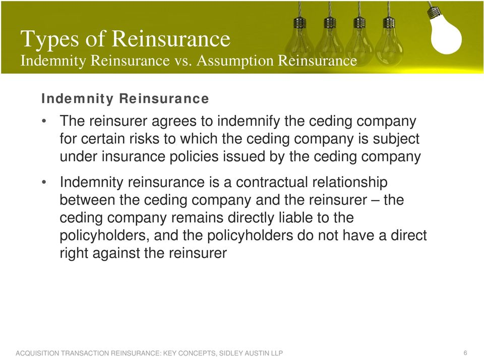 which the ceding company is subject under insurance policies issued by the ceding company Indemnity reinsurance is a