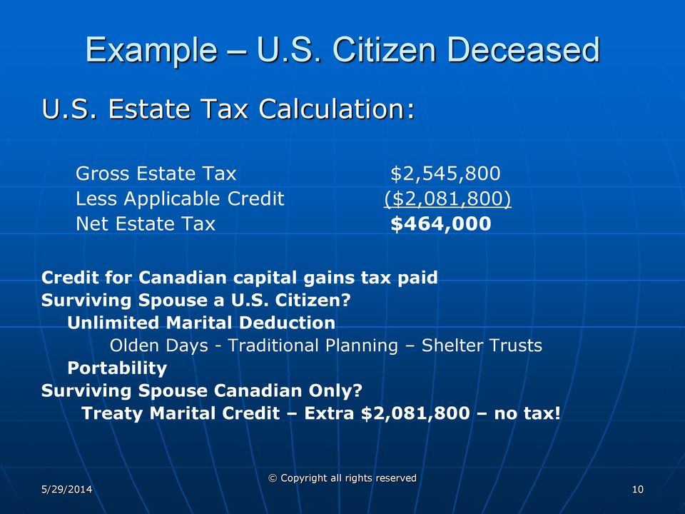 Estate Tax Calculation: Gross Estate Tax $2,545,800 Less Applicable Credit ($2,081,800) Net Estate