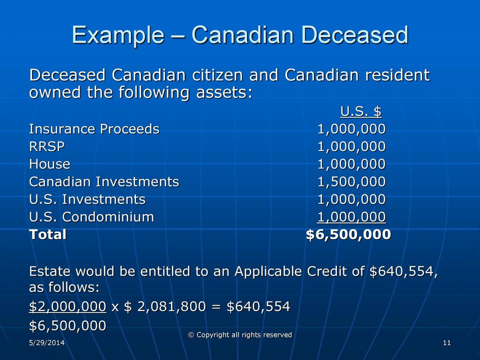 $ Insurance Proceeds 1,000,000 RRSP 1,000,000 House 1,000,000 Canadian Investments 1,500,000 U.S. Investments 1,000,000 U.