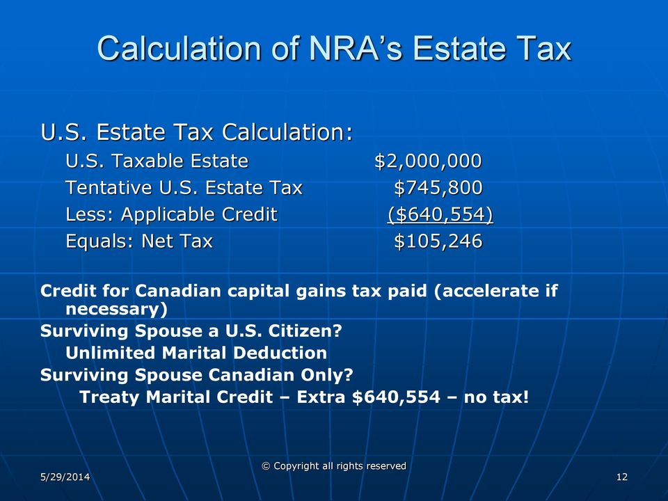Canadian capital gains tax paid (accelerate if necessary) Surviving Spouse a U.S. Citizen?