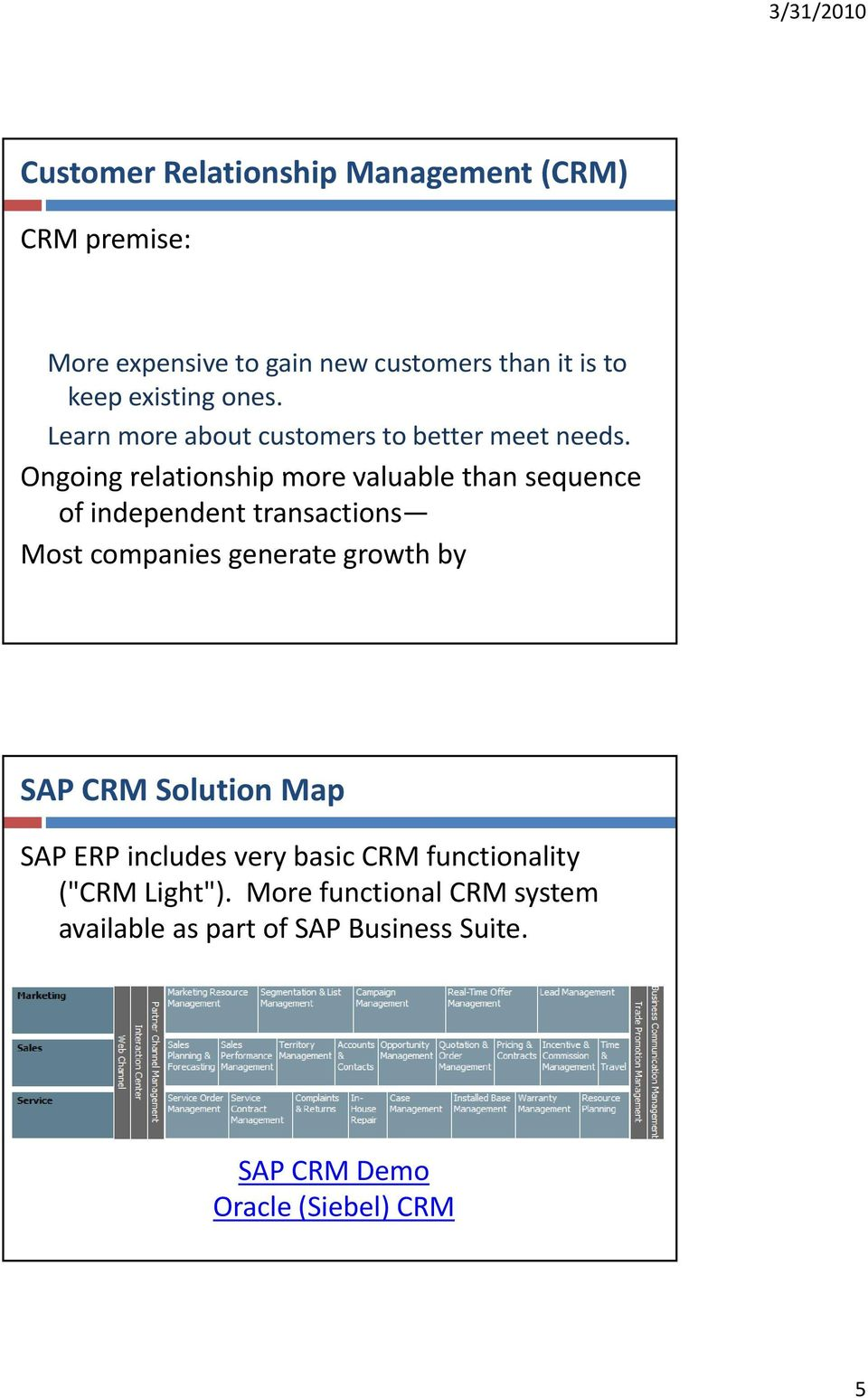 Ongoing relationship more valuable than sequence of independent transactions Most companies generate growth by SAP