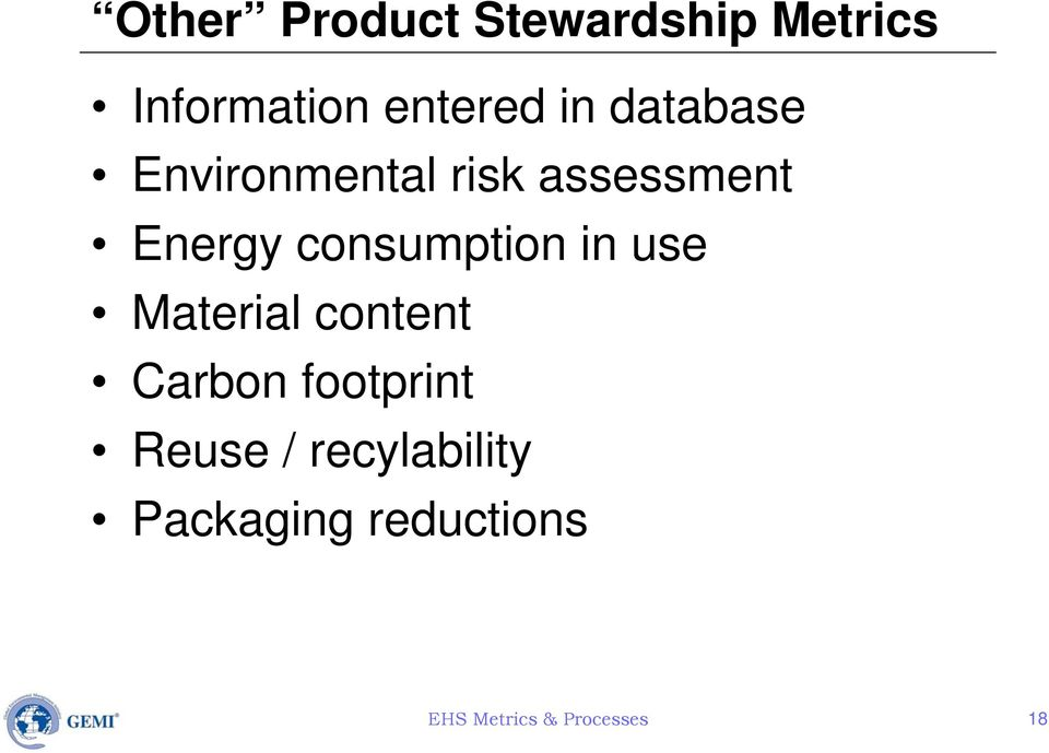 consumption in use Material content Carbon footprint