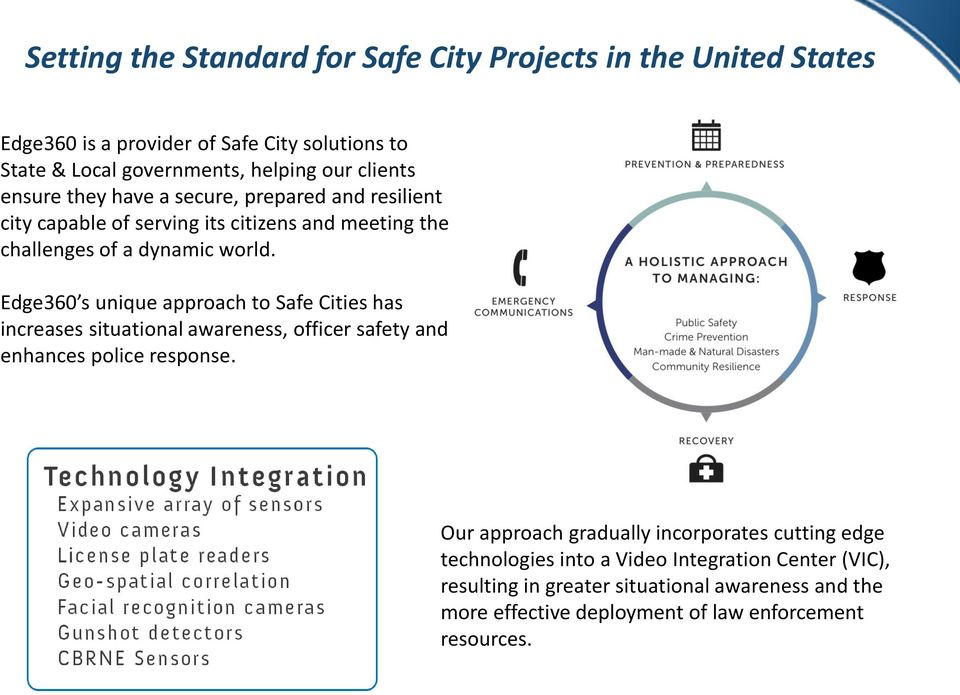 Edge360 s unique approach to Safe Cities has increases situational awareness, officer safety and enhances police response.