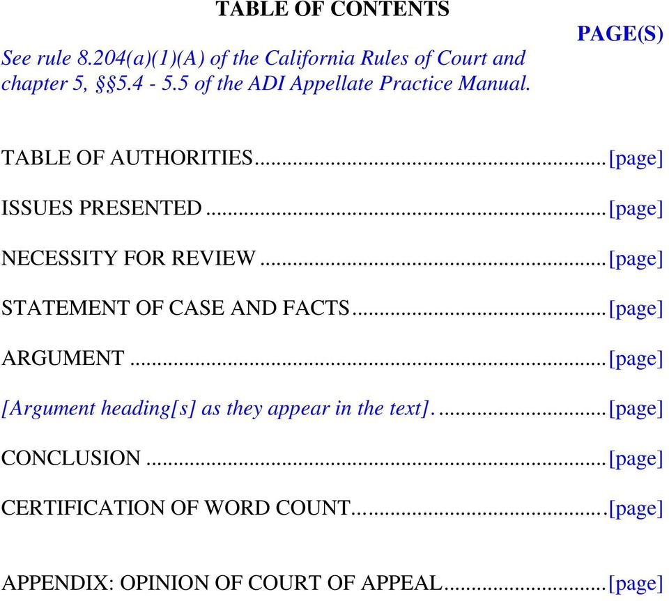 ..[page] NECESSITY FOR REVIEW...[page] STATEMENT OF CASE AND FACTS...[page] ARGUMENT.
