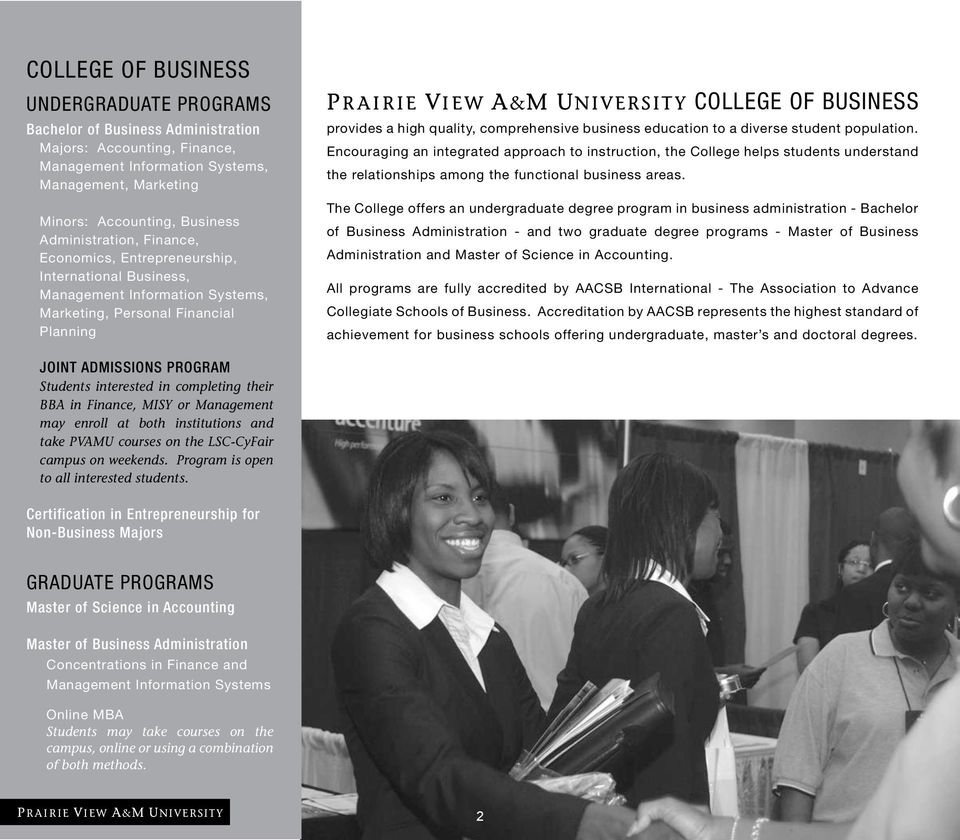 comprehensive business education to a diverse student population.