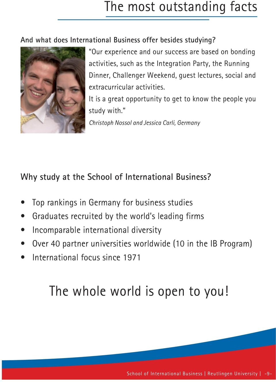 It is a great opportunity to get to know the people you study with. Christoph Nossol and Jessica Carli, Germany Why study at the School of International Business?