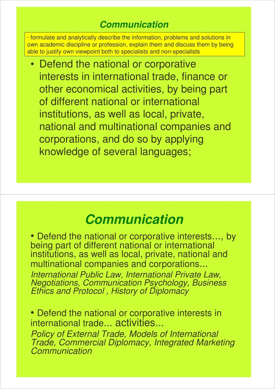 international institutions, as well as local, private, national and multinational companies and corporations, and do so by applying knowledge of several languages; Communication Defend the national