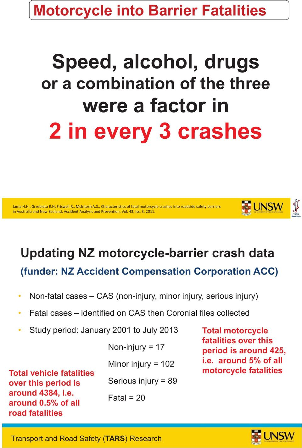 Updating NZ motorcycle-barrier crash data (funder: NZ Accident Compensation Corporation ACC) Non-fatal cases CAS (non-injury, minor injury, serious injury) Fatal cases identified on CAS then Coronial
