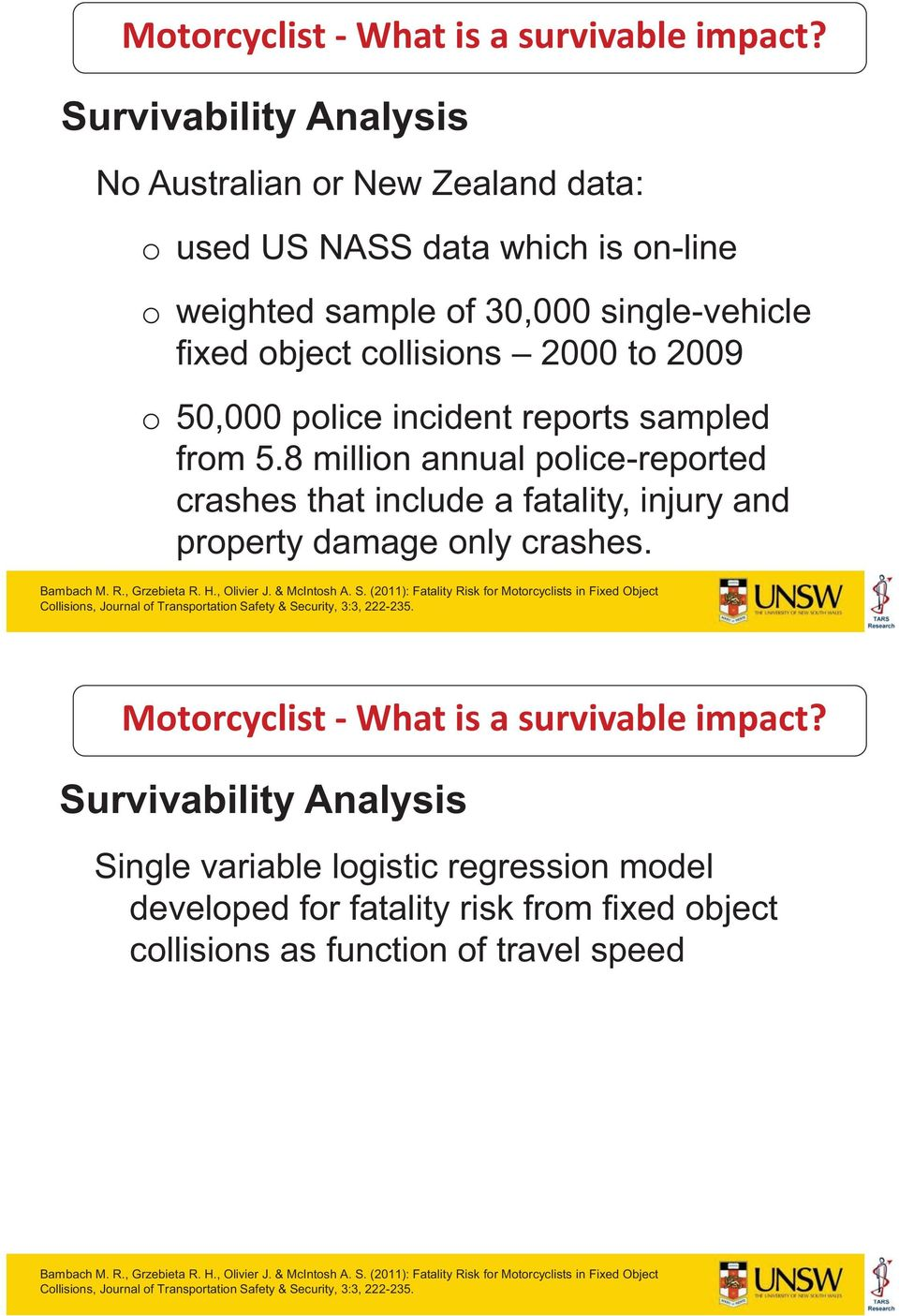 reports sampled from 5.8 million annual police-reported crashes that include a fatality, injury and property damage only crashes. Bambach M. R., Grzebieta R. H., Olivier J. & McIntosh A. S.