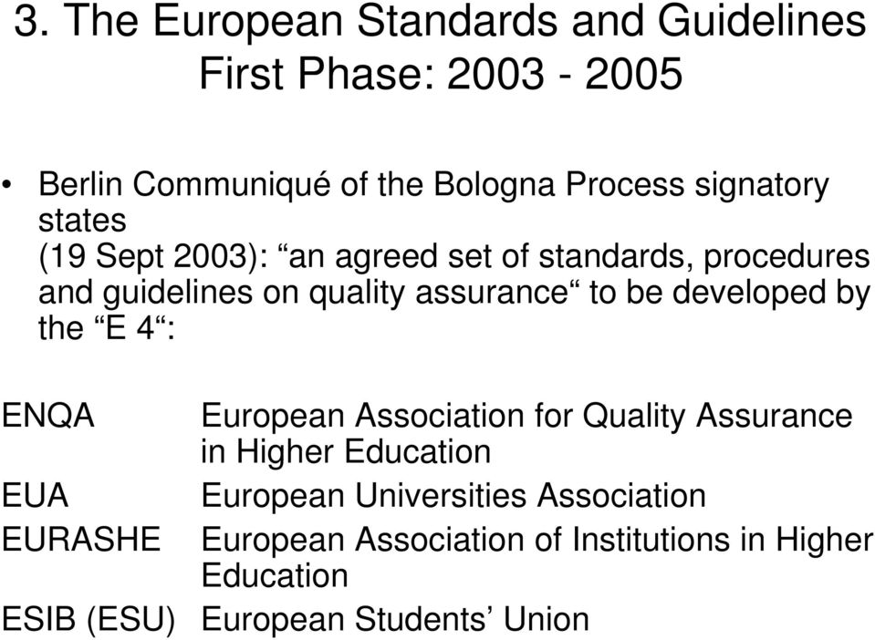 be developed by the E 4 : ENQA European Association for Quality Assurance in Higher Education EUA European