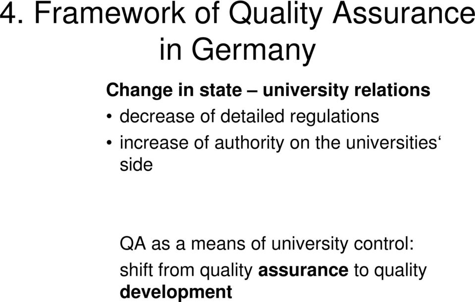 of authority on the universities side QA as a means of
