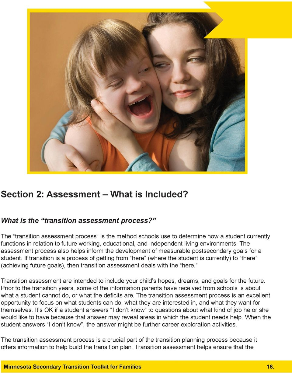 The assessment process also helps inform the development of measurable postsecondary goals for a student.