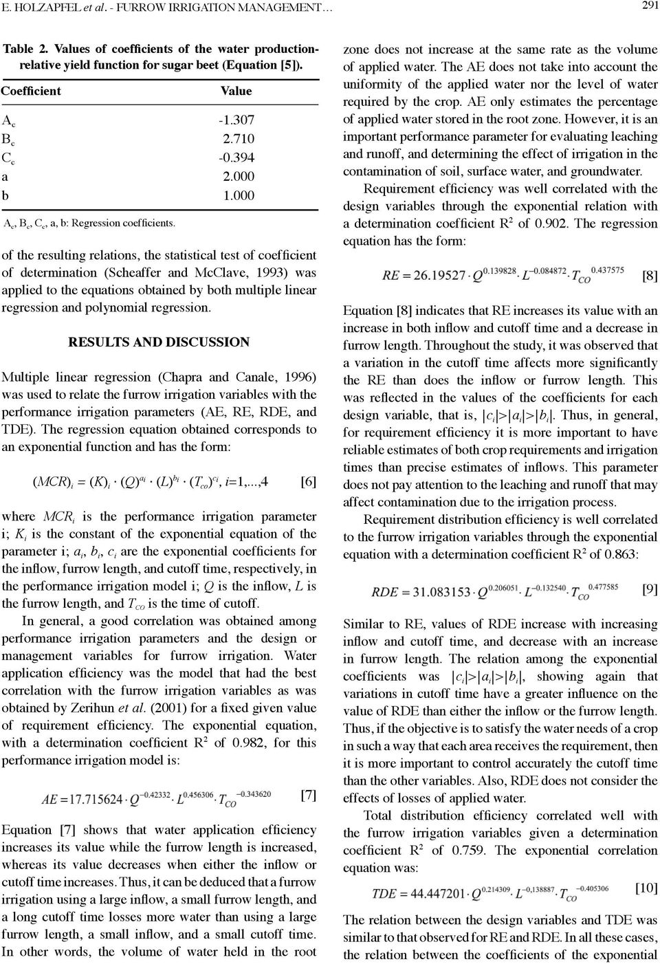 000 of the resulting relations, the statistical test of coefficient of determination (Scheaffer and McClave, 1993) was applied to the equations obtained by both multiple linear regression and