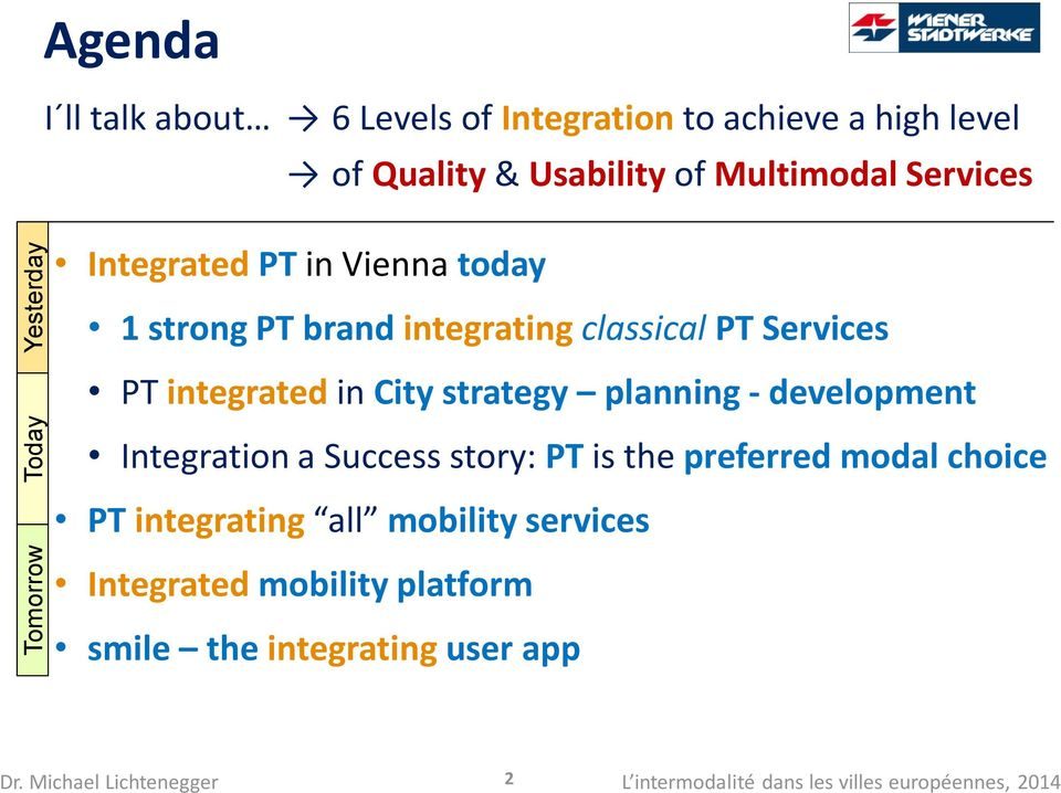 PT integrated in City strategy planning - development Integration a Success story: PT is the preferred modal choice