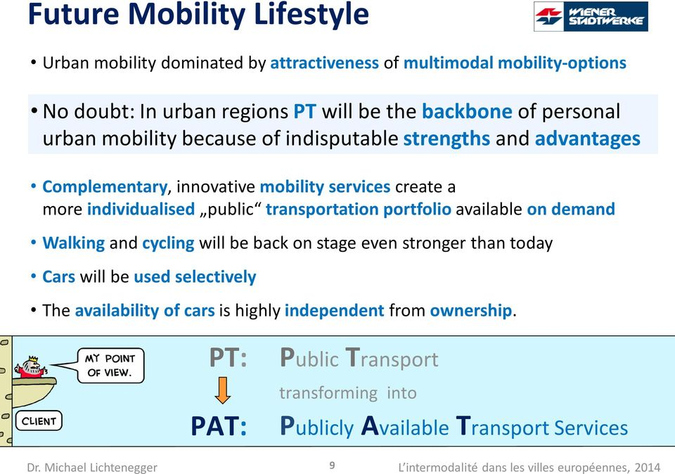 transportation portfolio available on demand Walking and cycling will be back on stage even stronger than today Cars will be used selectively The