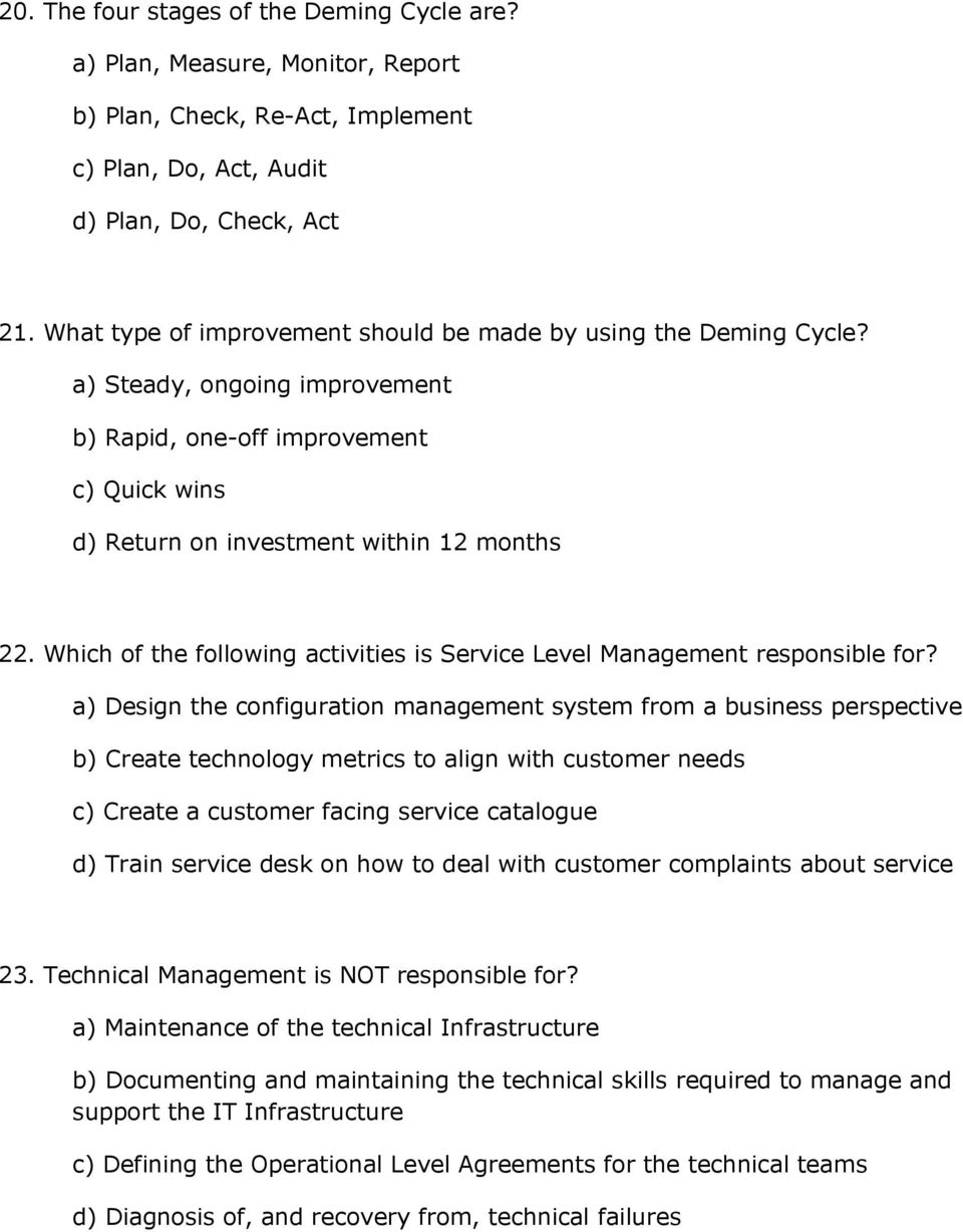 Which of the following activities is Service Level Management responsible for?
