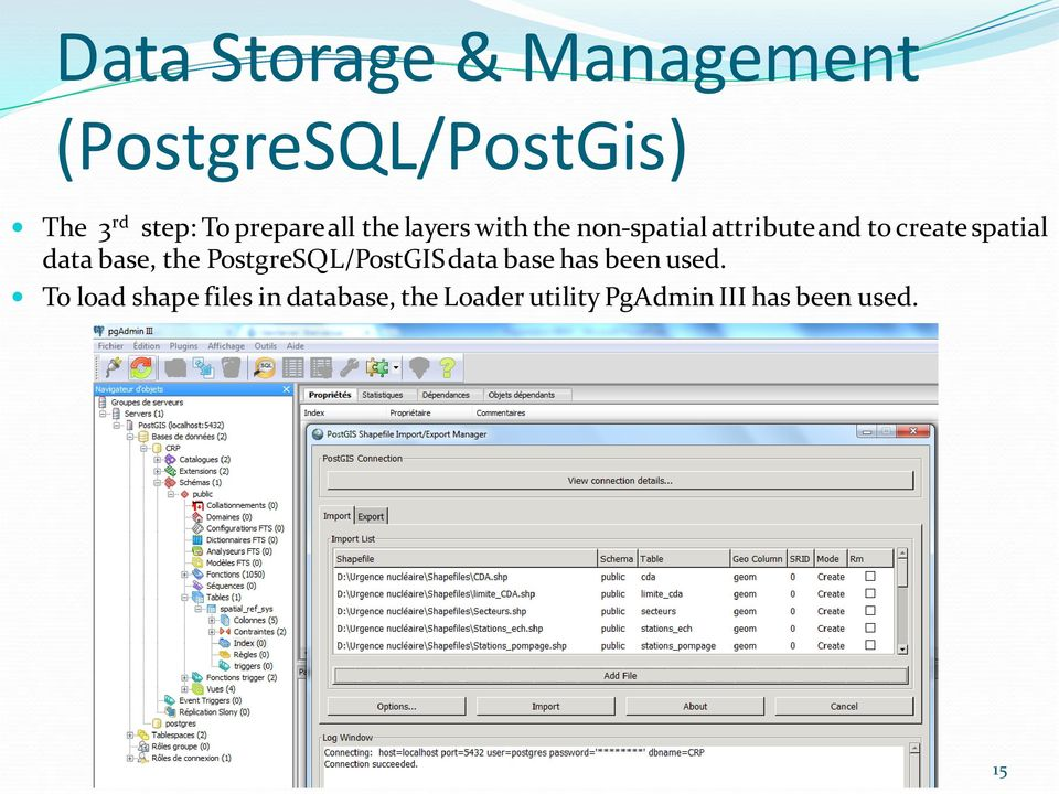 spatial data base, the PostgreSQL/PostGIS data base has been used.