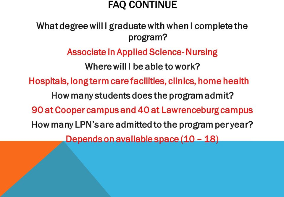 Hospitals, long term care facilities, clinics, home health How many students does the program