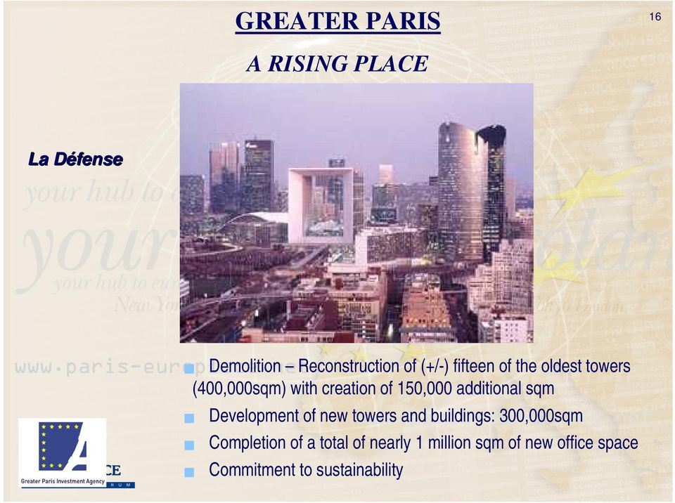 sqm Development of new towers and buildings: 300,000sqm Completion of a