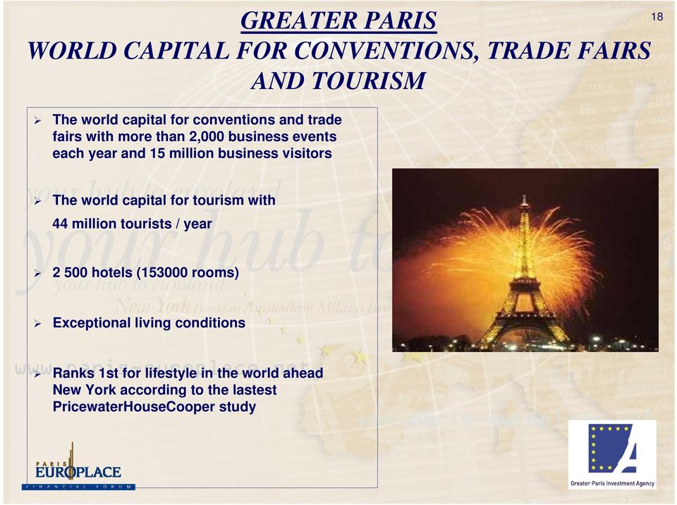 capital for tourism with 44 million tourists / year 2 500 hotels (153000 rooms) Exceptional living