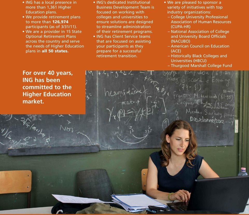 For over 40 years, ING has been committed to the Higher Education market.