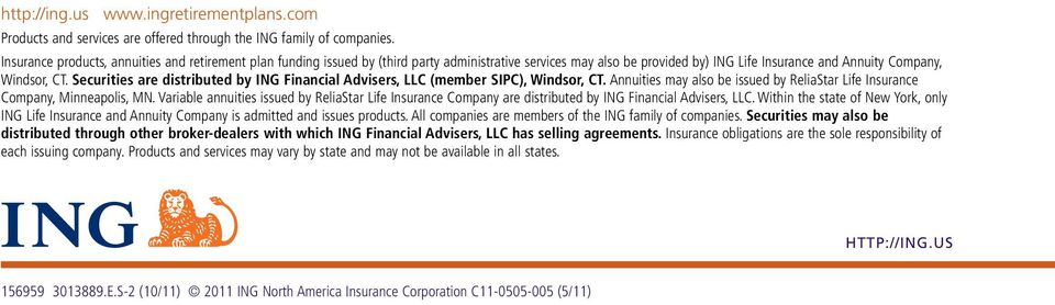Securities are distributed by ING Financial Advisers, LLC (member SIPC), Windsor, CT. Annuities may also be issued by ReliaStar Life Insurance Company, Minneapolis, MN.
