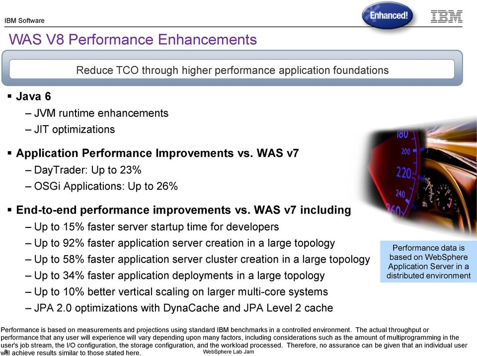 WAS v7 including Up to 15% faster server startup time for developers Up to 92% faster application server creation in a large topology Up to 58% faster application server cluster creation in a large