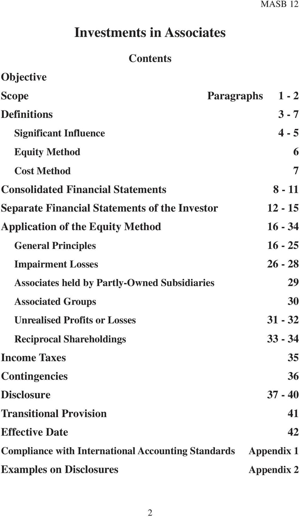Associates held by Partly-Owned Subsidiaries 29 Associated Groups 30 Unrealised Profits or Losses 31-32 Reciprocal Shareholdings 33-34 Income Taxes 35