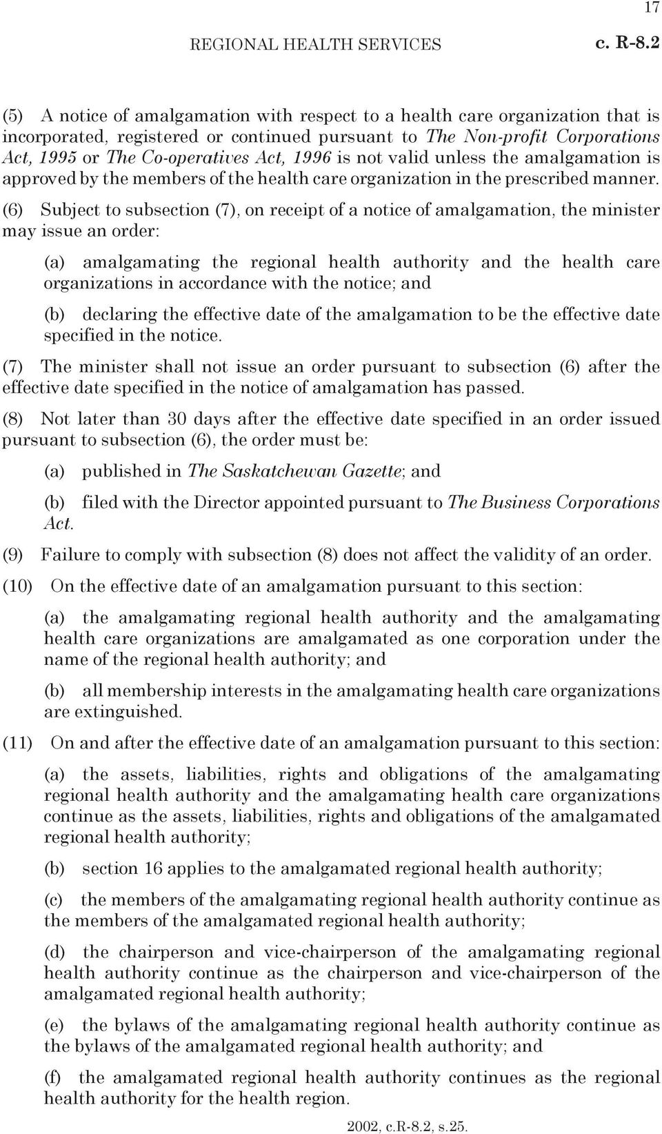1996 is not valid unless the amalgamation is approved by the members of the health care organization in the prescribed manner.