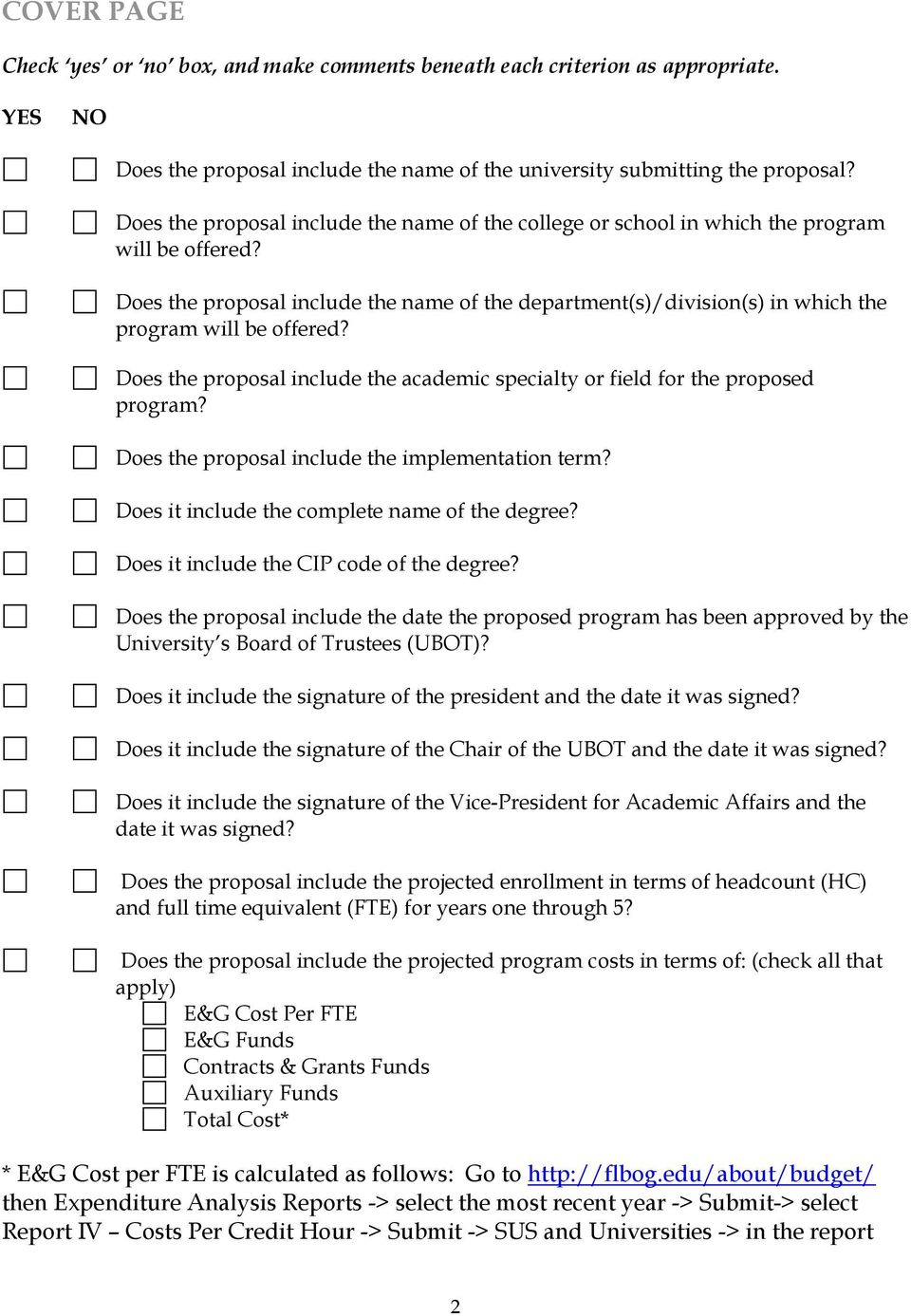 Does the proposal include the name of the department(s)/division(s) in which the program will be offered? Does the proposal include the academic specialty or field for the proposed program?