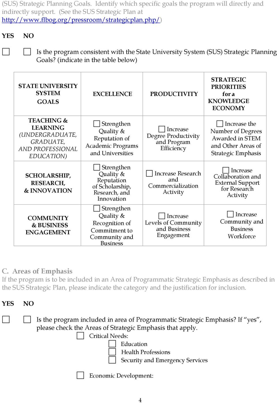 (indicate in the table below) STATE UNIVERSITY SYSTEM GOALS EXCELLENCE PRODUCTIVITY STRATEGIC PRIORITIES for a KWLEDGE ECOMY TEACHING & LEARNING (UNDERGRADUATE, GRADUATE, AND PROFESSIONAL EDUCATION)
