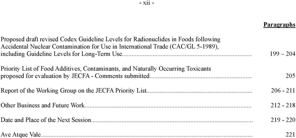 .. 199 204 Priority List of Food Additives, Contaminants, and Naturally Occurring Toxicants proposed for evaluation by JECFA - Comments