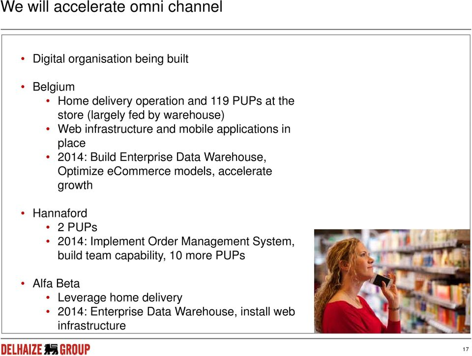 Warehouse, Optimize ecommerce models, accelerate growth Hannaford 2 PUPs 2014: Implement Order Management System,