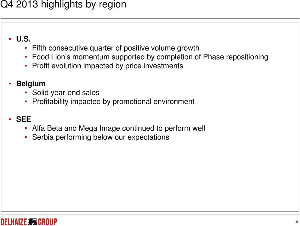 completion of Phase repositioning Profit evolution impacted by price investments Belgium Solid