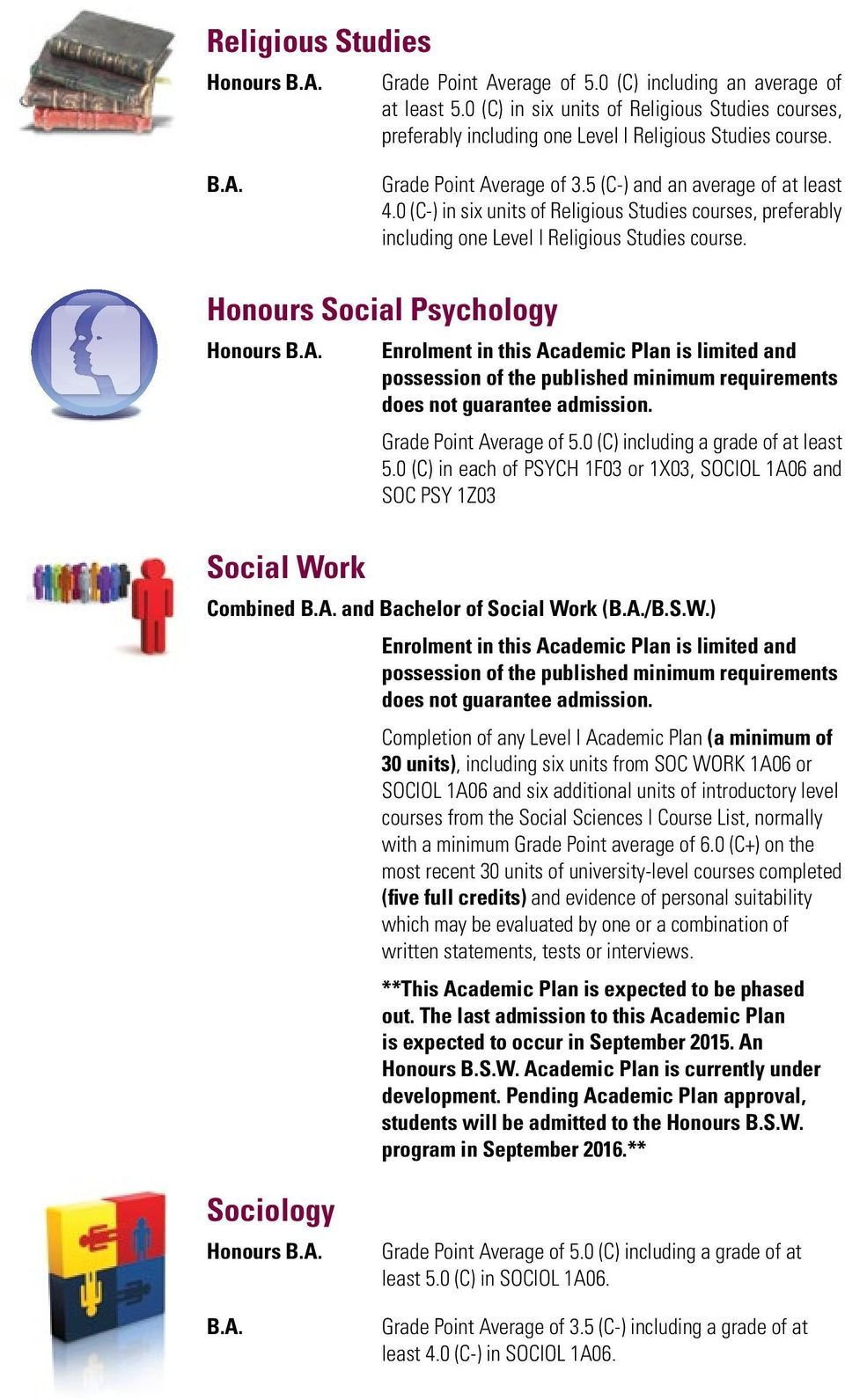 Honours Social Psychology Social Work Enrolment in this Academic Plan is limited and possession of the published minimum requirements does not guarantee admission. Grade Point Average of 5.