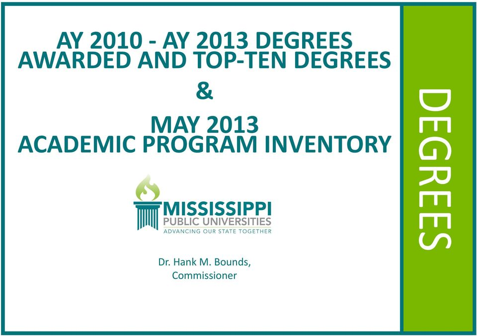 PROGRAM INVENTORY Dr. Hank M.