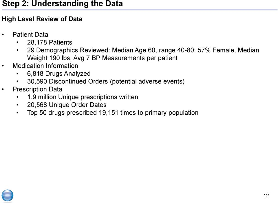 Information 6,818 Drugs Analyzed 30,590 Discontinued Orders (potential adverse events) Prescription Data 1.